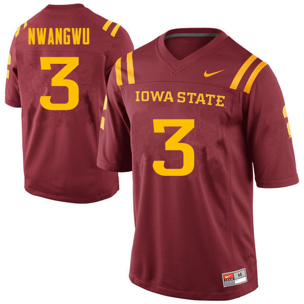 Men #3 Kene Nwangwu Iowa State Cyclones College Football Jerseys Sale-Cardinal